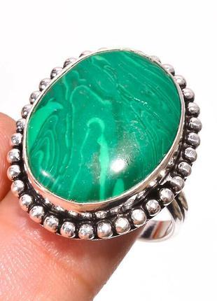 Кольцо малахит стерлинговое серебро 925