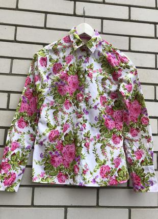 Яркая,брендовая рубашка,блуза,цветочный принт,хлопок,экчклюзив