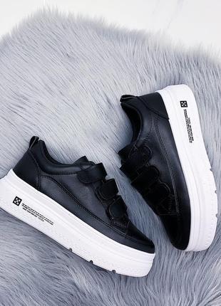Чёрные кроссовки/кеды на платформе,кроссовки/ кеды на липучках...