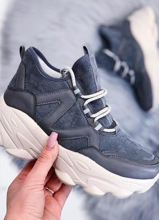Замшевые серые кроссовки на массивной подошве,замшевые кроссов...