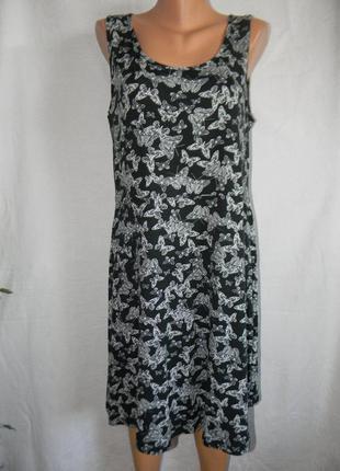 Новое трикотажное платье с принтом бабочки