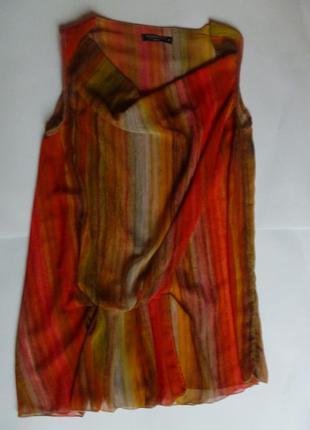 Легкая свободная блуза туника с красивой драпировкой двухслойн...