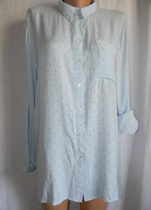 Натуральная блуза рубашка в полоску