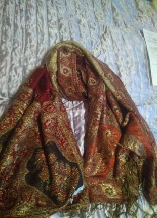 Шикарный двухсторонний шарф палантин большой пашмина 100%