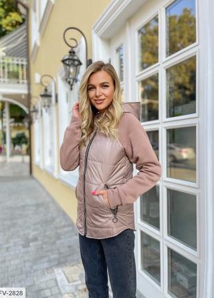 Комбинированная легкая женская куртка на молнии с рукавами из ...