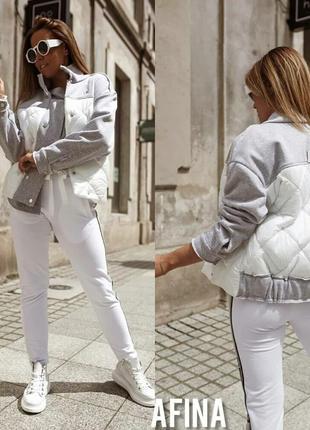 Стильная комбинированная женская куртка бомбер короткая осення...