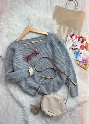 🌿 теплый вязаный свитер с обьемными рукавами zara свободного кроя