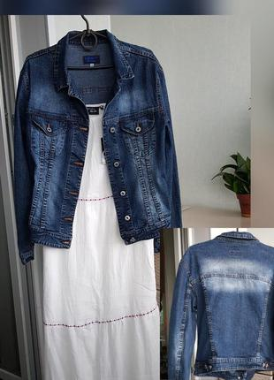 Новый джинсовый пиджак темно-синий жакет xxl