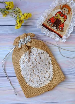 Эко мешок из мешковины, торбочка, мешочек для подарка, хранени...
