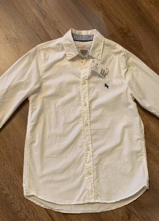Котоновая рубашка h&m на мальчика 8-10 лет