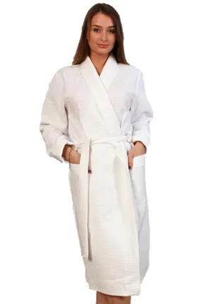 Вафельный халат Luxyart Кимоно, размер женский (46-48) М хлопок