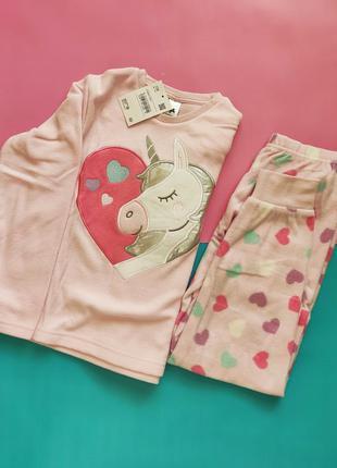 Флисовая пижама на девочку единорог