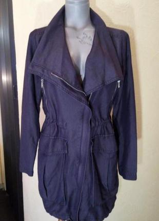 Джинсовое женское пальто, длинная куртка