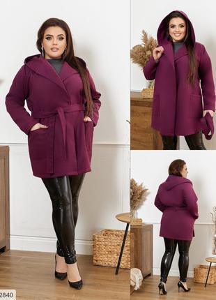Короткое кашемировое женское пальто на осень на запах с поясом...