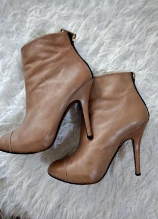 Ботильоны ботинки сапожки zara бежевые телесные кожа натуральная