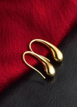 Серьги капля /покрытие золотом 925 пробы