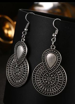 Серьги под серебро/ винтажный стиль