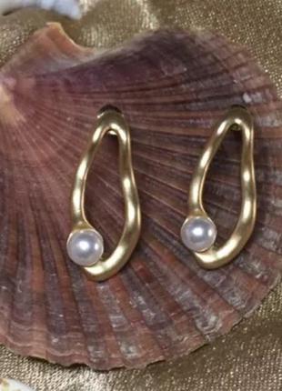 Серьги /матовое золото/ пресноводный жемчуг