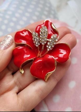 Брошь *красный цветок*/ эмаль