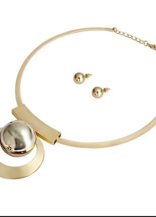 Набор стильный с шарами под золото колье/ожерелье / + серьги