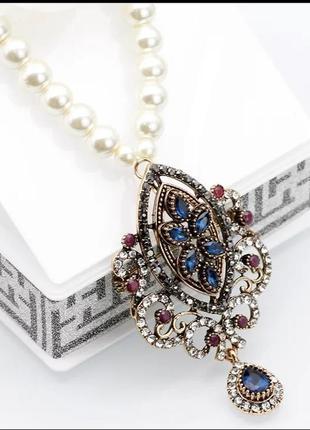 Колье, ожерелье жемчужное + брошь/винтажный стиль