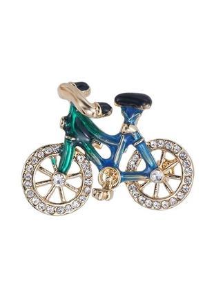 Брошь велосипед с фианитами.