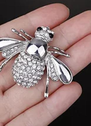 Брошь пчела/ муха серебристая