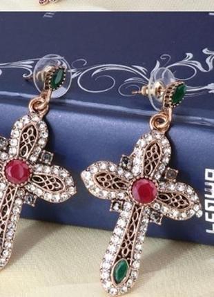 Серьги кресты с кристаллами!!!