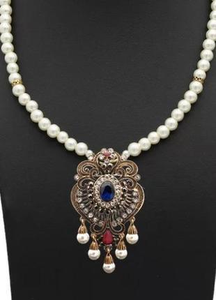 Ожерелье жемчуг + брошь/ винтажный стиль