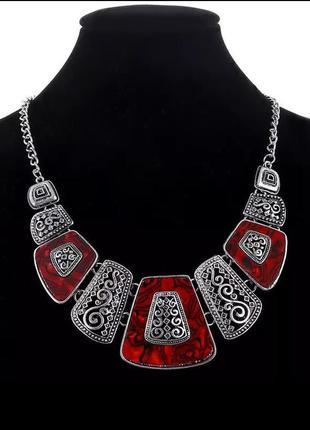 Ожерелье, колье под серебро/красная эмаль