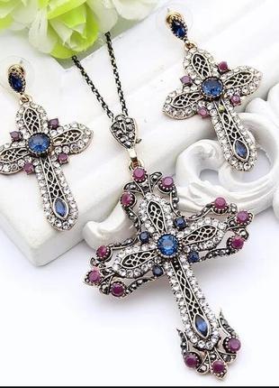 """Стильный набор украшений """"кресты"""" с кристаллами"""