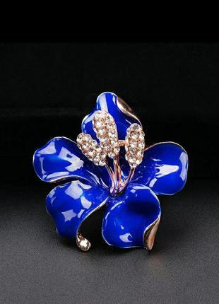 Брошка синя квітка, елегантна/емаль
