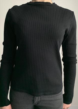 Кофта, світер, светр, гольф, черная кофта в рубчик.