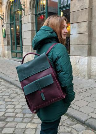 Шкіряний рюкзак трансформер jordan bp_17 bordo+green