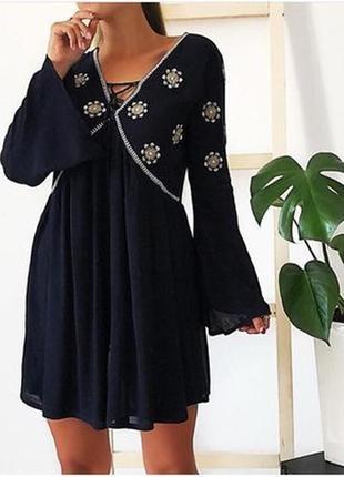 Платье с вышивкой и кисточками atmosphere размер8