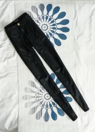 Кожаные леггинсы штаны брюки лосины на высокой посадке талии п...