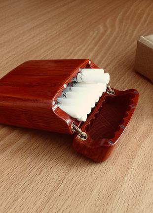 Портсигар из дерева на 20 сигарет King Size/Цвет красный