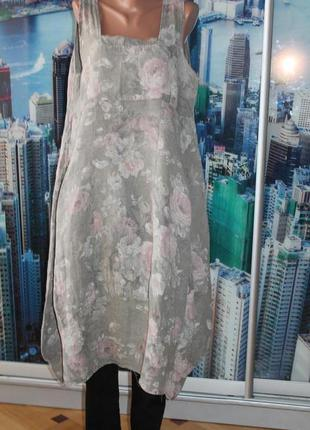 Платье бохо 100% лен