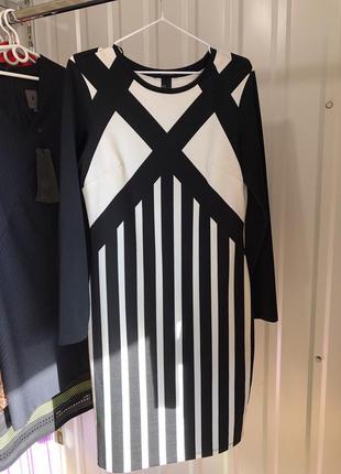 Эффектное платье черно белый монохром h&m,ноаое