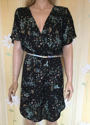 Платье лёгкое шифоновое в цветы new look размер 12/14