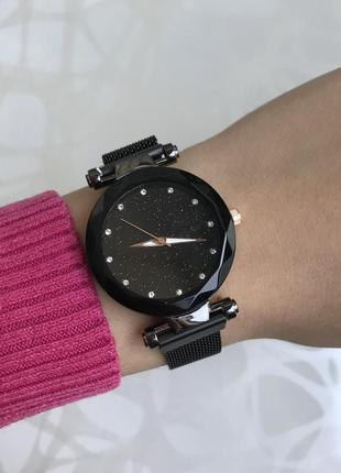 Женские шикарные блестящие часы на магните черные