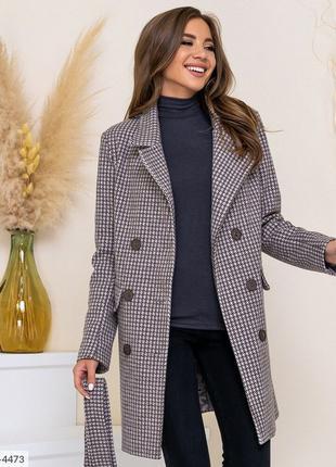 Теплое плотное пальто женское на осень классическое деловое пр...
