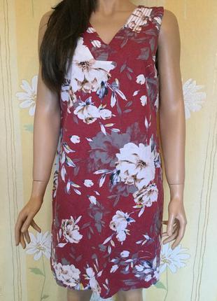 Платье в цветы лён peacock 14 размер