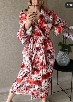 Махровый женский халат баталы большие размеры