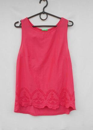 Летняя блузка без рукавов  с вышивкой хлопок вискоза