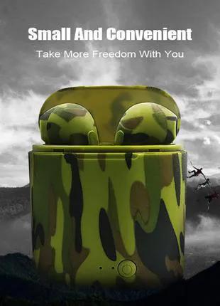 Беспроводные Bluetooth наушники TWS i7S Camouflage Green & Black