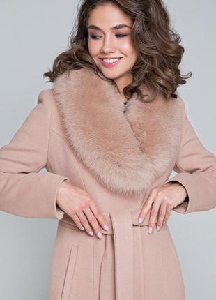 Меховое роскошное пальто айрис прямого покроя зимнее с поясом ...