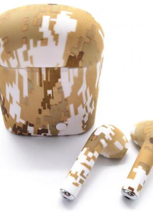 Беспроводные Bluetooth наушники TWS i7S Camouflage Brown & White