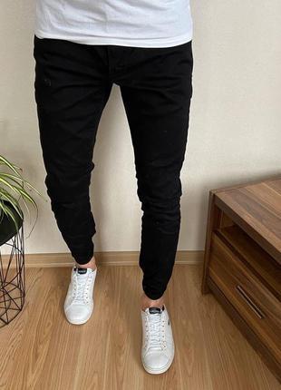 Чёрные зауженные мужские джинсы f&f