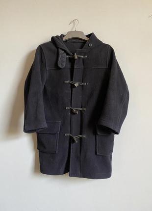 Французский дафлкот из шерсти . темно синее пальто с капюшоном